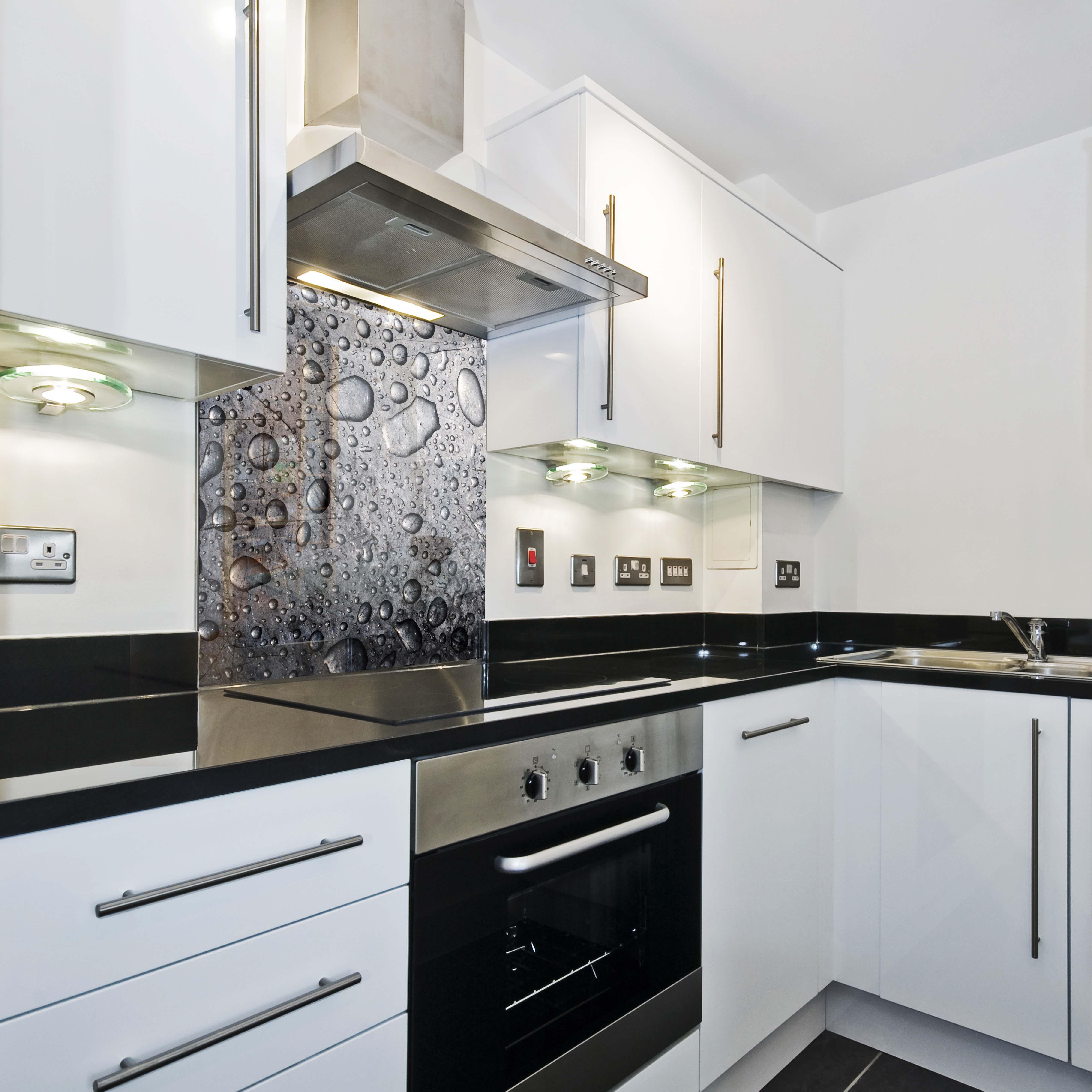 k chenr ckwand spritzschutz k che geh rtetes glas r ckwand tropfen wasser grau ebay. Black Bedroom Furniture Sets. Home Design Ideas