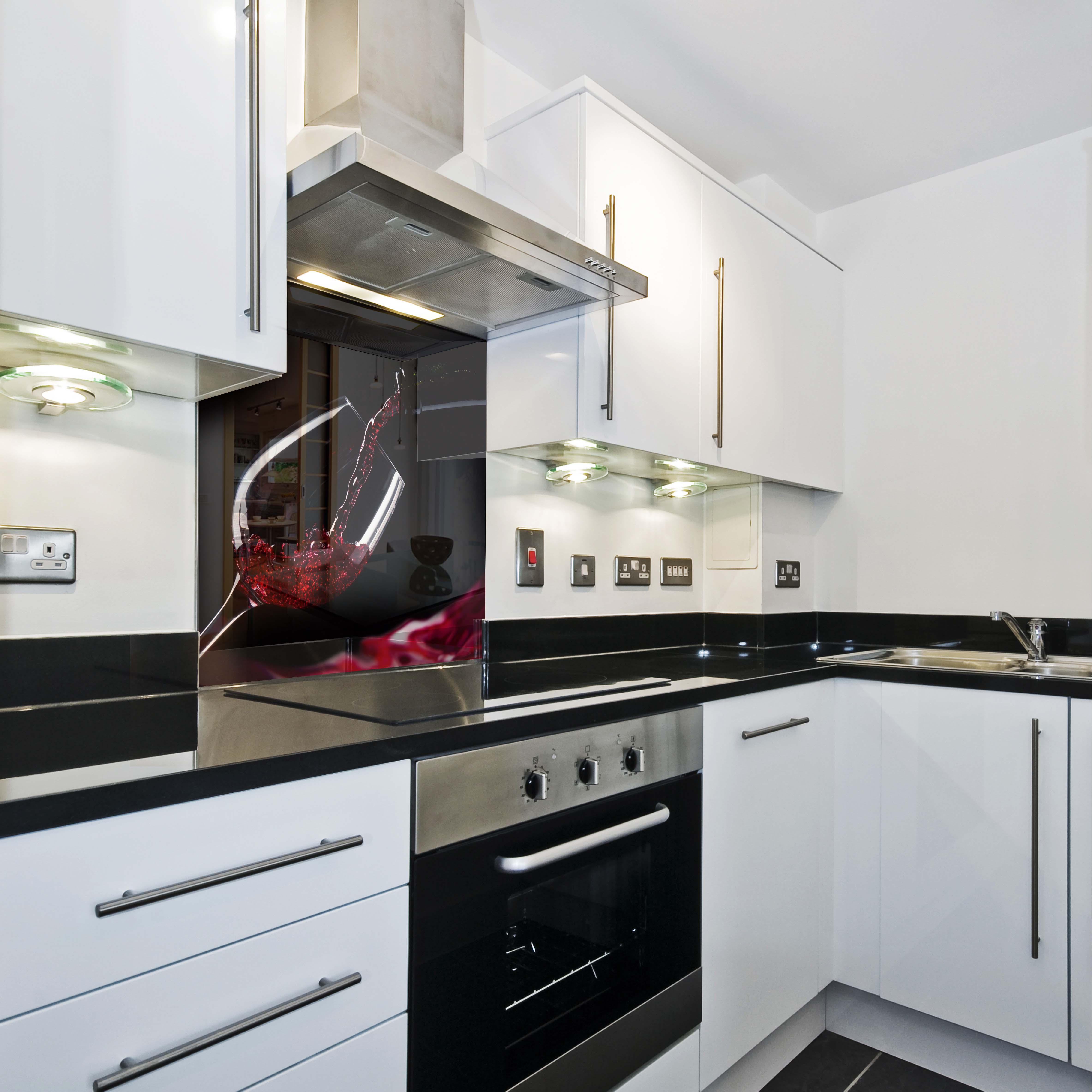 k chenr ckwand spritzschutz k che geh rtetes glas wein. Black Bedroom Furniture Sets. Home Design Ideas