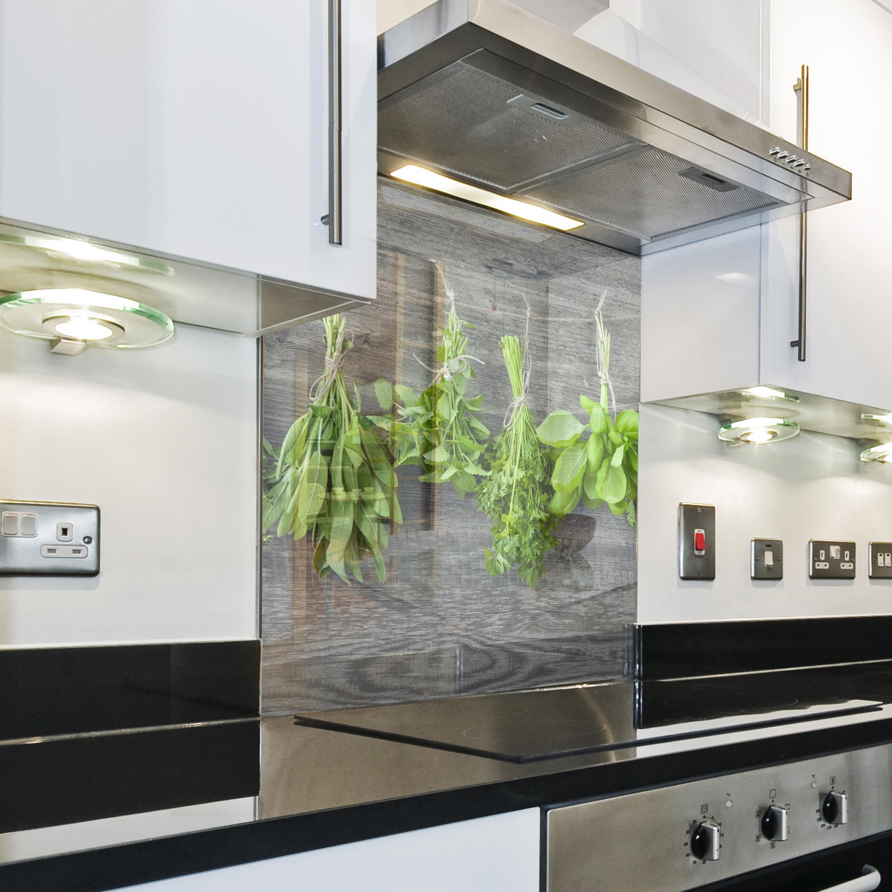 k chenr ckwand spritzschutz k che geh rtetes glas salbei rosmarin grau ebay. Black Bedroom Furniture Sets. Home Design Ideas