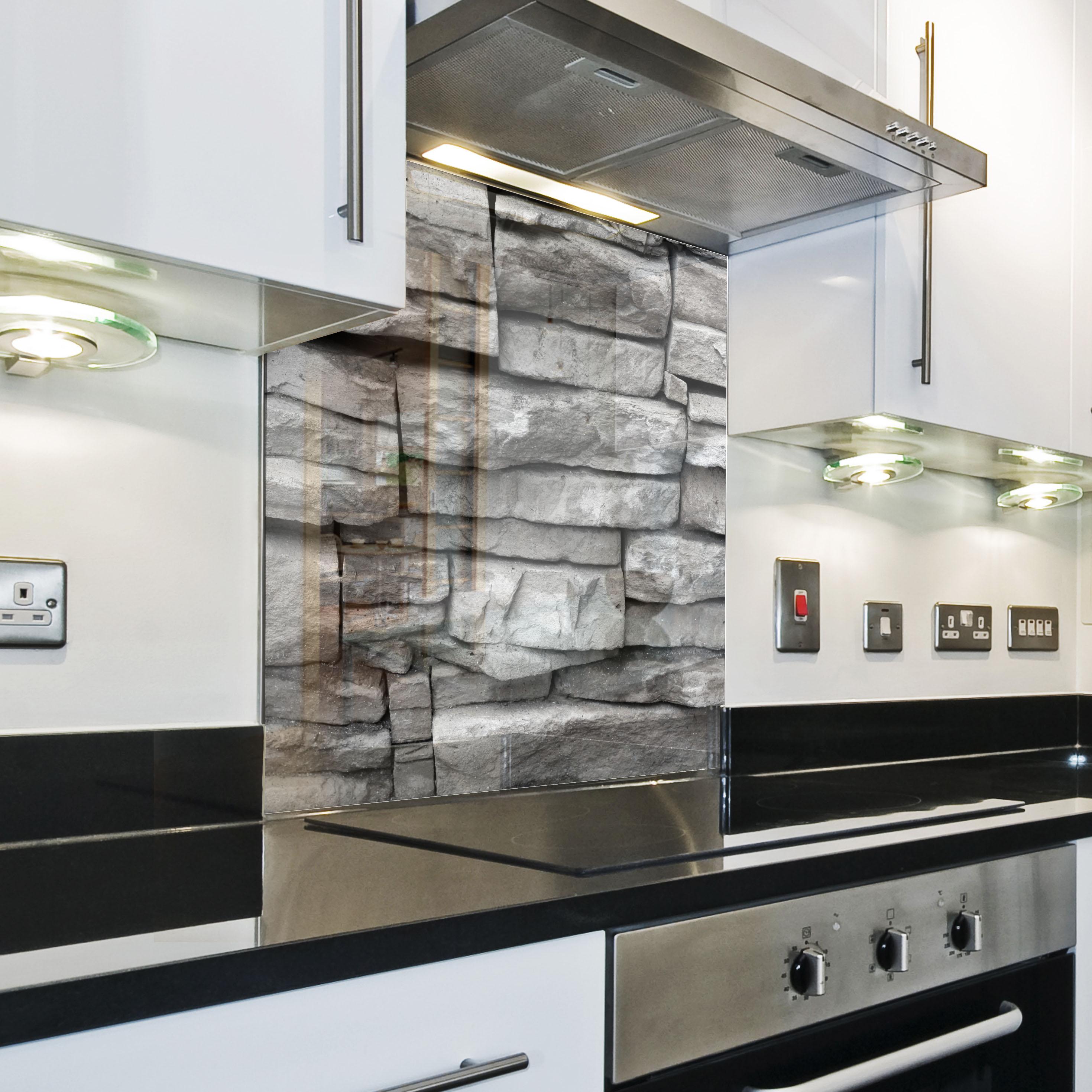 Kitchen tempered glass splashback protection stone pattern for Paraschizzi cucina plexiglass