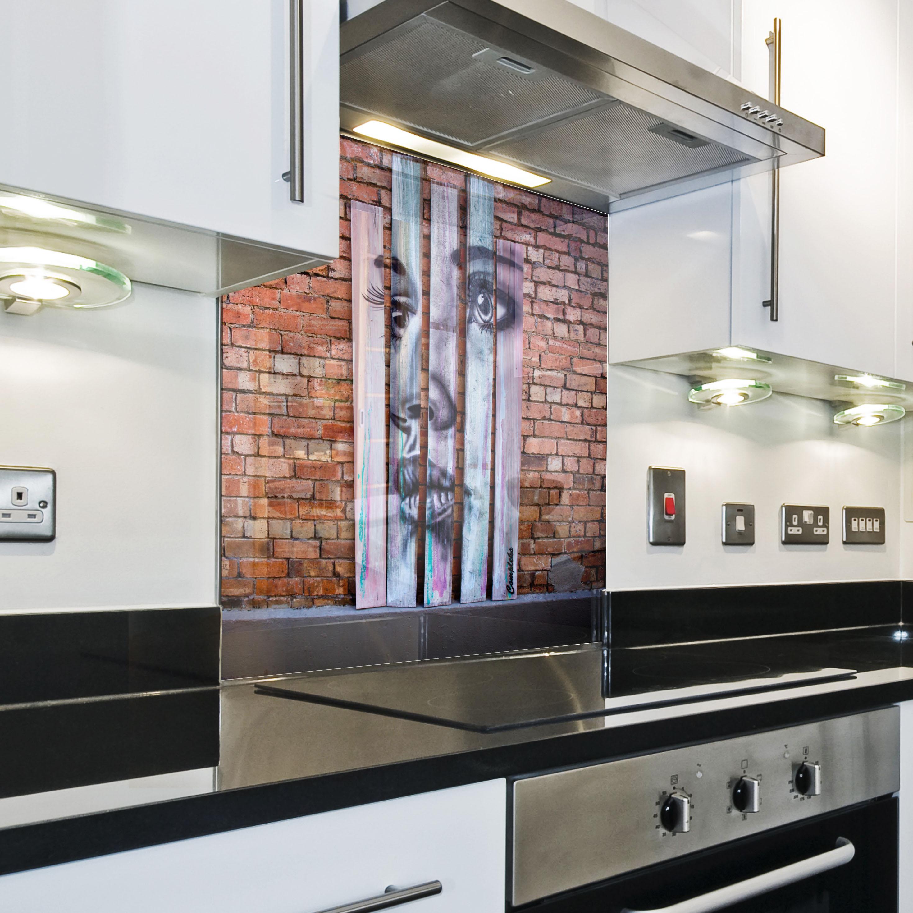 k chenr ckwand spritzschutz k che geh rtetes glas ziegel. Black Bedroom Furniture Sets. Home Design Ideas