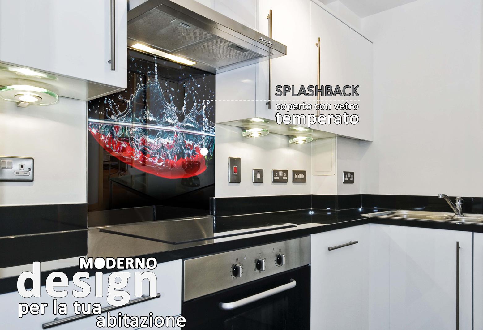 Paraschizzi cucina vetro temperato latest ha anta finale arrotondata la parete vasca aurora - Schienale cucina in vetro temperato ...