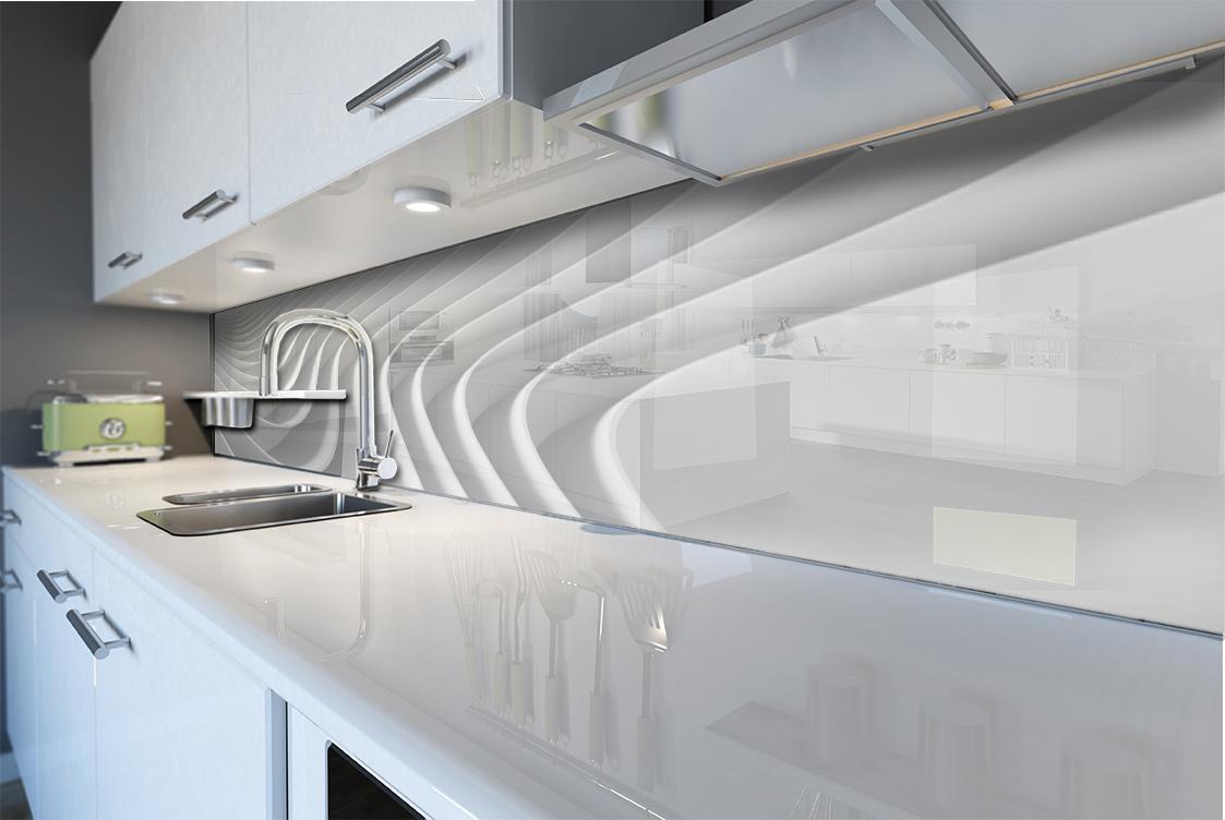 k chenr ckwand spritzschutz k che geh rtetes glas abstrakt wei leitungen kurve ebay. Black Bedroom Furniture Sets. Home Design Ideas