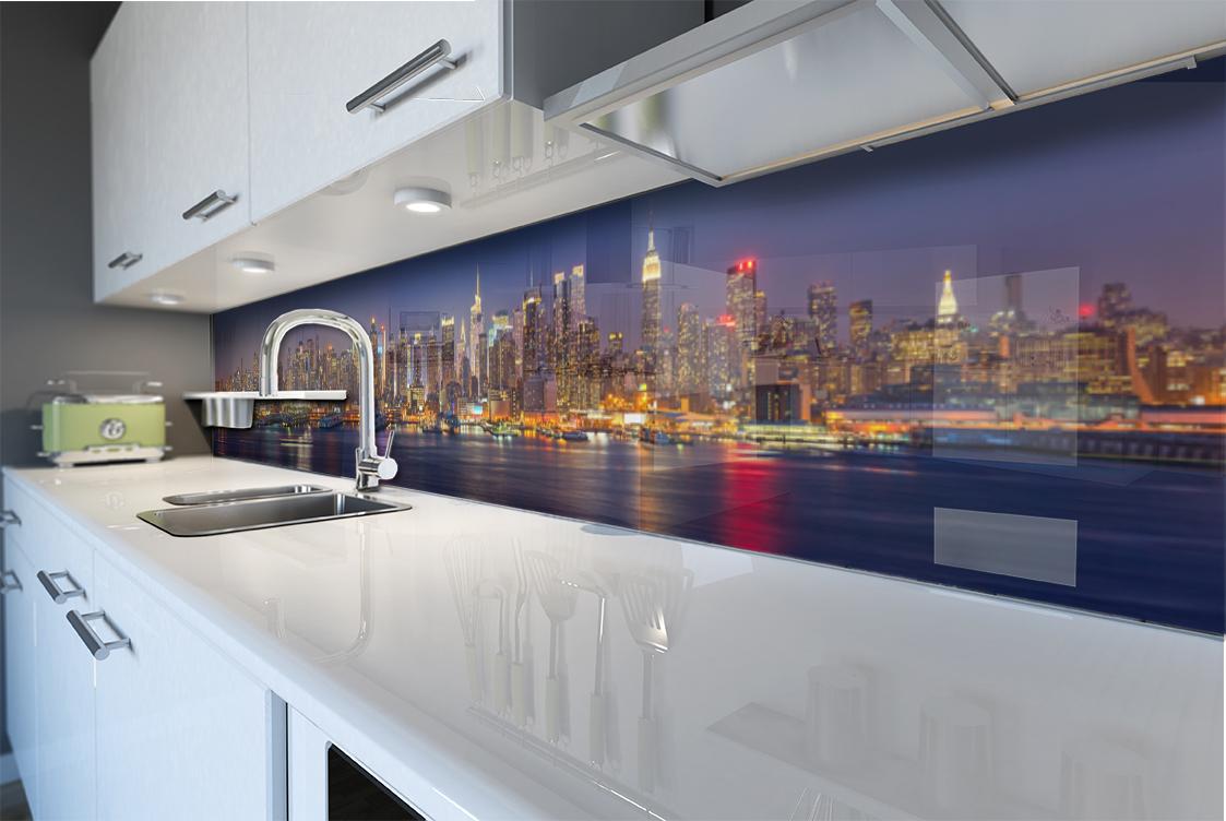 Rivestimento muro cucina pannello paraschizzi citt colorato notte manhattan ebay - Pannello cucina rivestimento ...