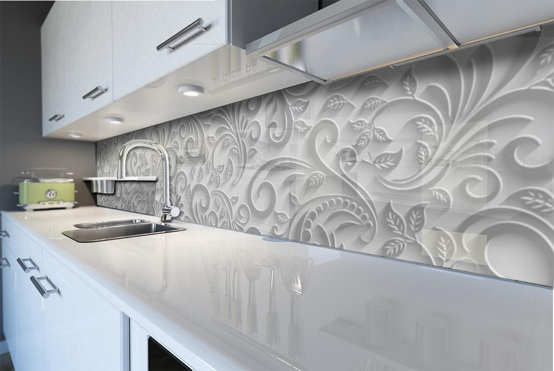 Pannello paraschizzi per rivestimento cucina astratto grigio decorazioni foglie ebay - Paraschizzi cucina vetro ...