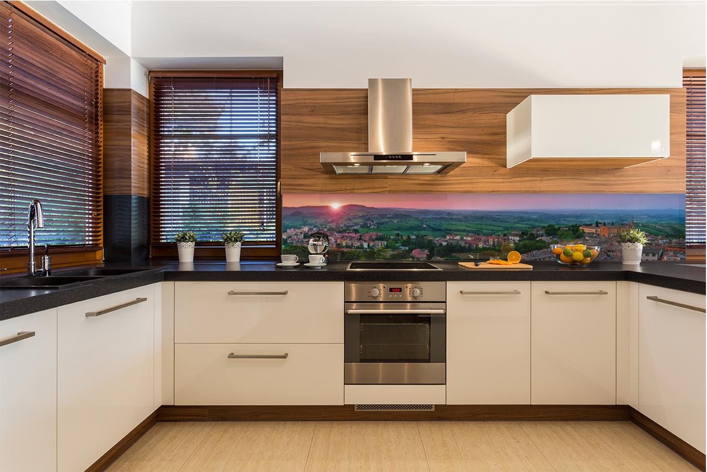 Pannello retro cucina moderna in vetro temperato citt arancione citt mediavale ebay - Vetro temperato cucina ...