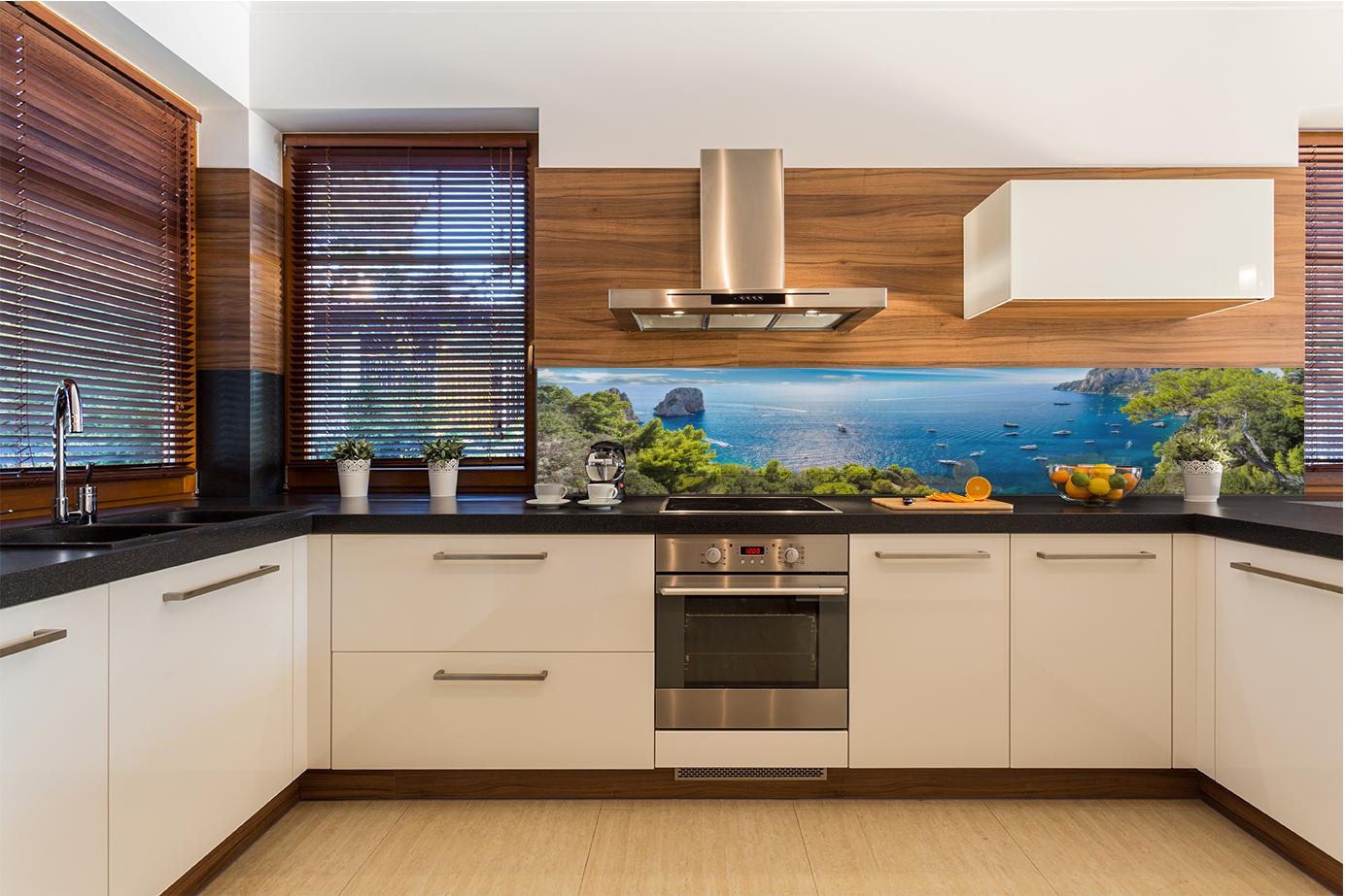 Paraschizzi rivestimento da parete cucina moderna natura blu capri island ebay - Rivestimento da parete cucina ...