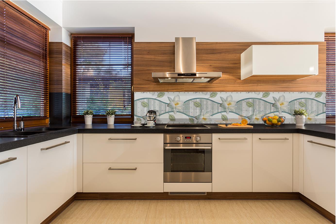 Pannello paraschizzi per rivestimento cucina astratto argento decorazioni fiori ebay - Pannello cucina rivestimento ...