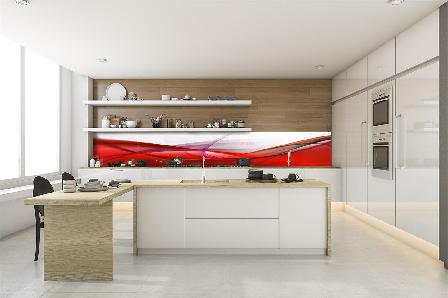 Paraschizzi rivestimento da parete cucina moderna astratto rosso linee bianco ebay - Rivestimento cucina bianco ...
