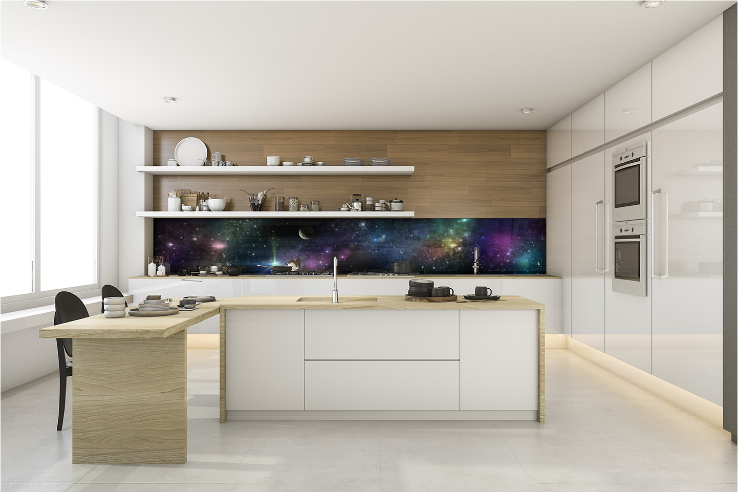 KÜCHENRÜCKWAND Spritzschutz Küche Gehärtetes Glas Weltraum Farben Planeten