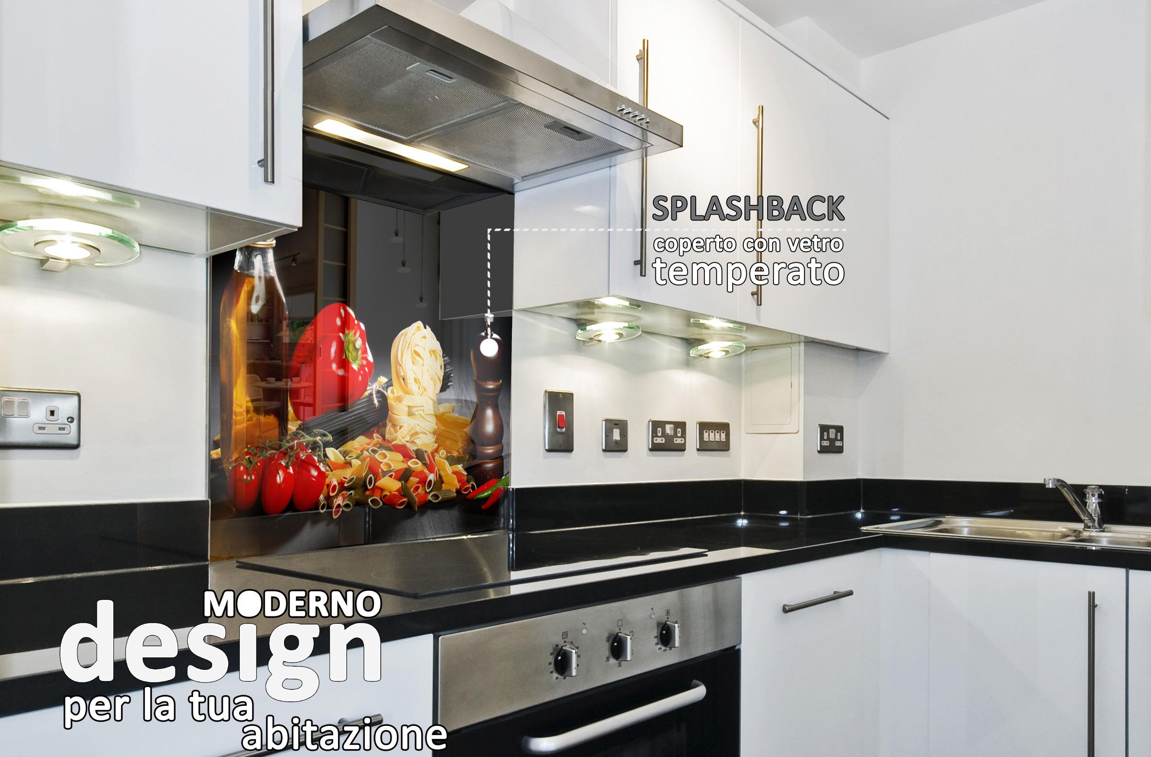 Splashback protezione dietro piano cottura fornelli cucina italiana olio nero ebay - Cucina senza fornelli ...