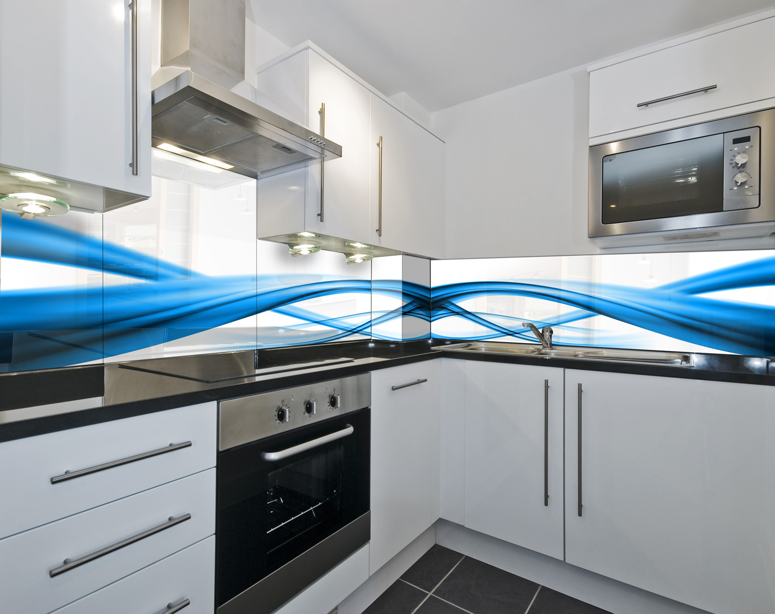 Kitchen Tempered Glass Splashback Protection Blue Abstract Pattern White Ebay